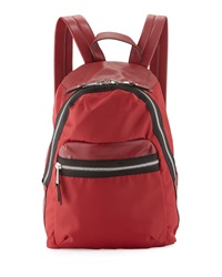 French Connection Piper Contrast Trim Nylon Backpack Red