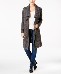 Calvin Klein Jeans Open Front Boucle Cardigan Black White