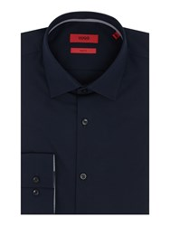 Hugo Men's Joey Slim Solid Colour Shirt With Contrast Trim Navy