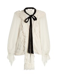Chloe Ruffle Trimmed Oversized Silk Crepon Blouse White