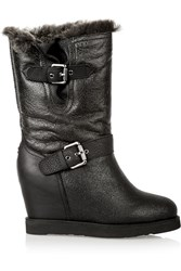 Australia Luxe Collective Machina Shearling Wedge Boots Black