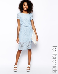Girls On Film Tall Lace Pencil Skirt Blue
