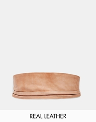 Pieces Vibs Leather Obi Waist Belt Nude