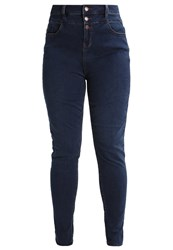 New Look Curves Tim Slim Fit Jeans Teal Dark Blue Denim