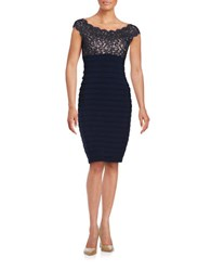 Xscape Evenings Lace Accented Pleated Sheath Dress Navy