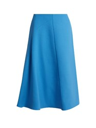 Marni Wool Crepe High Waisted Skirt Blue