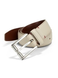 Saks Fifth Avenue Pebbled Leather Belt Off White