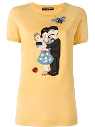 Dolce And Gabbana Family Patch Top Yellow And Orange