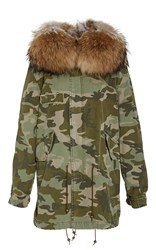 Mr And Mrs Italy Canvas Camouflage Parka Midi Green