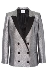 Racil Prince Double Breasted Tuxedo Jacket In Brocard Metallic