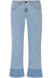 Victoria Beckham Cropped Mid Rise Flared Jeans Mid Denim
