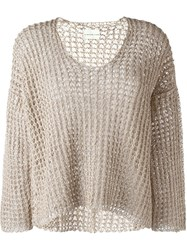 Simon Miller Wide Knit Scoop Neck Jumper Nude And Neutrals