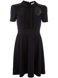 Red Valentino Sheer Panel Shirt Dress Blue