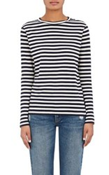 Barneys New York Women's Striped Cotton Jersey Long Sleeve T Shirt Navy