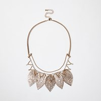 River Island Womens Gold Tone Filigree Leaf Bib Necklace