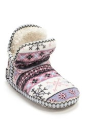 Muk Luks Amira Fleece Faux Fur Lined Slipper Boot White