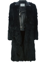 Toga Pulla Biker Jacket Insert Fur Coat Black