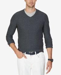 Nautica Men's Textured V Neck Sweater Charcoal Heather