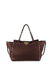 Valentino Rolling Rockstud Medium Leather Tote Wine