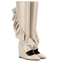 J.W.Anderson Ruffle Cutout Leather Wedge Boots Neutrals