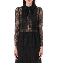 Philosophy Pleated Floral Lace Blouse Black