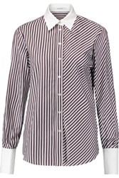 Carven Striped Cotton Poplin Shirt Chocolate