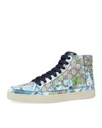 Gucci Common Gg Blooms High Top Sneaker Blue Beige