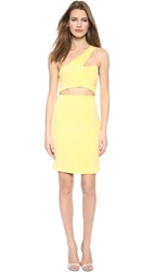 Olcay Gulsen One Shoulder Cutout Dress Yellow