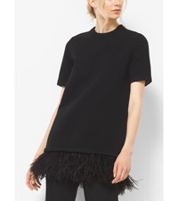 Ostrich Feather Embroidered Cashmere T Shirt