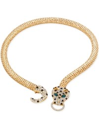 Thalia Sodi Gold Tone Glitter Leopard Head Collar Necklace Only At Macy's