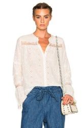 Ulla Johnson Inga Embroidered Cotton Silk Blouse In White