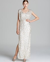 Js Collections Gown Short Sleeve Scoop Neck Sequin Blouson Ivory