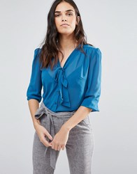 Madam Rage Pussy Bow Blouse Teal Green