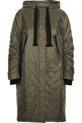 Prada Jersey Trimmed Shell Hooded Parka Army Green