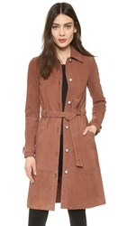 Elizabeth And James Whitley Suede Coat Nutmeg