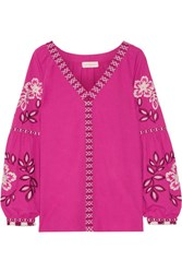 Tory Burch Therese Embroidered Cotton Top Fuchsia