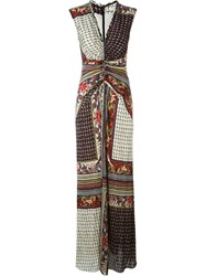 Etro Multipattern Ruched Centre V Neck Maxi Dress Black