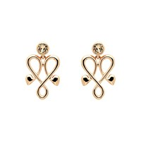 Biba Rose Gold Heart Crystal Emblem Earrings