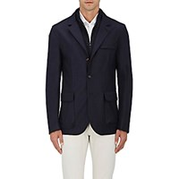 Luciano Barbera Men's Cashmere Three Button Jacket Navy