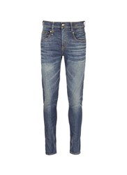 R 13 'Boy' Distressed Slim Fit Jeans Blue
