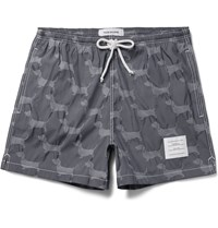 Thom Browne Hector Short Length Dachshund Jacquard Swim Shorts Gray