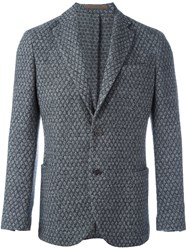 Eleventy Patterned Single Button Blazer Grey