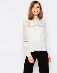 Asos Lace Insert High Neck Blouse White