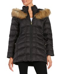 Betsey Johnson Faux Fur Trimmed Hooded Mid Length Puffer Coat Black