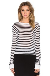 Alexander Wang Stripe Rayon Linen Long Sleeve Tee Blue