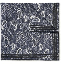 Turnbull And Asser Paisley Print Silk Twill Pocket Square Charcoal