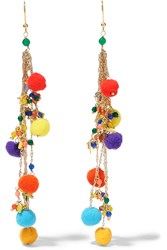Rosantica Cancun Pompom Embellished Gold Tone Quartz Earrings Gold Red