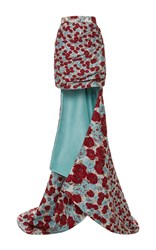Ungaro Emanuel Embroidered High Rise Mini Skirt With Train Red Blue White