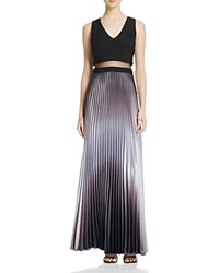 Aqua Pleated Illusion Waist Gown Black Silver
