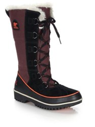 Sorel Tivoli High Faux Fur Trimmed Canvas And Suede Boots Brown